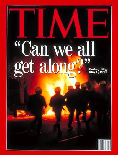 Time magazine cover from the 1992 LA riots.